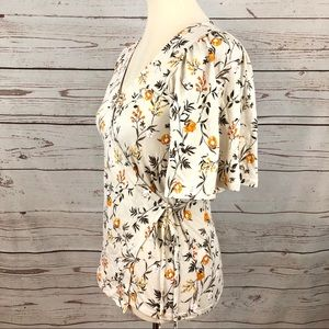 NWT Lucky Brand Flutter Sleeve Floral Wrap Blouse
